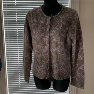 Lavender and Green button front cardigan
